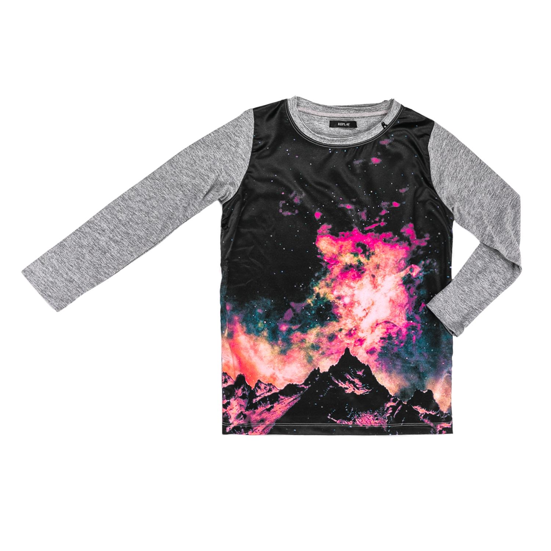 REPLAY – Παιδική μακρυμάνικη μπλούζα Replay γκρι με στάμπα