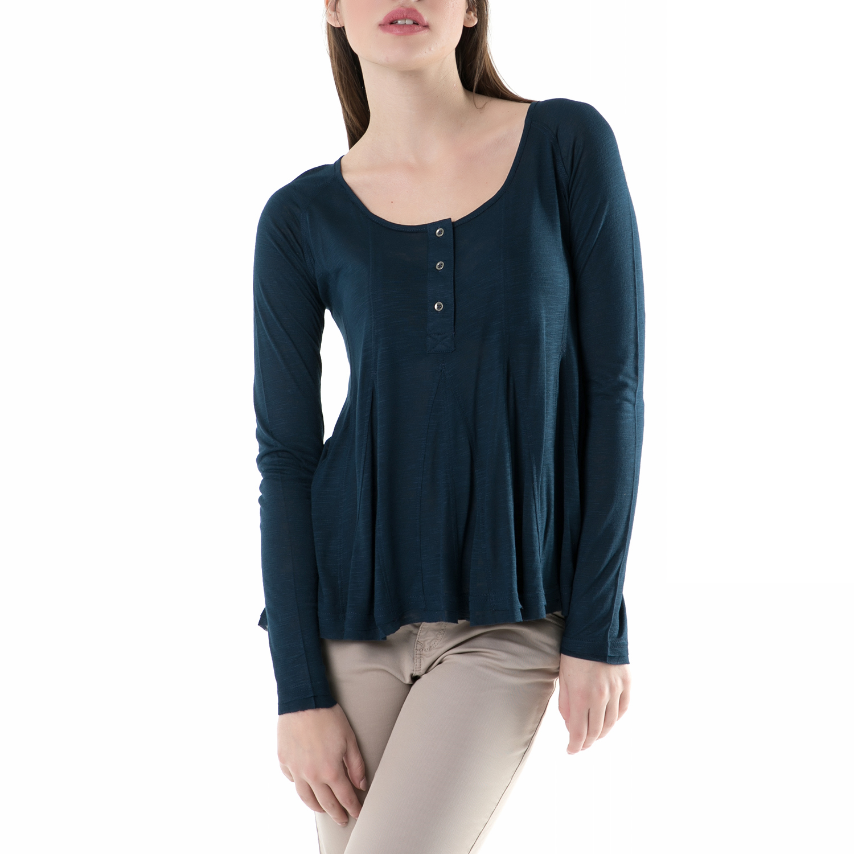 e2554f795328 FUNKY BUDDHA - Γυναικεία μακρυμάνικη μπλούζα FUNKY BUDDHA μπλε ...