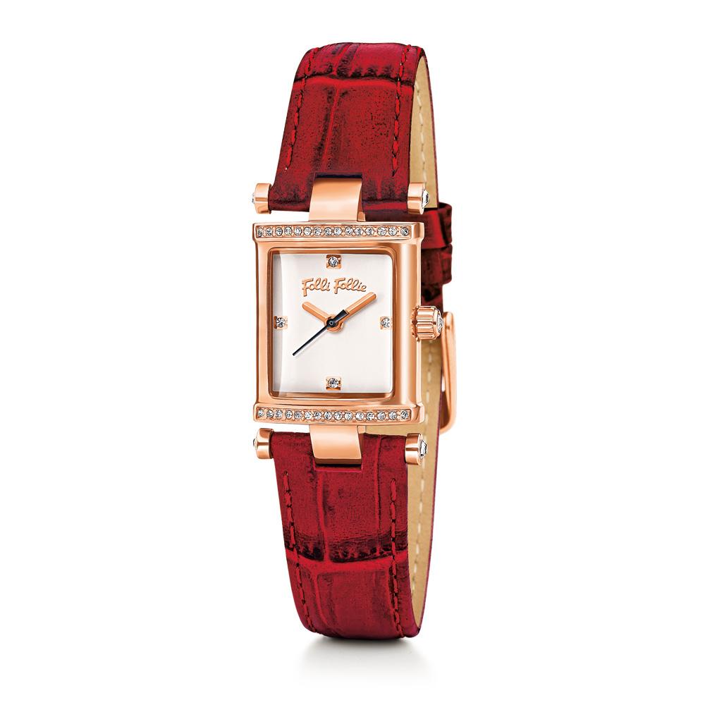 2e43e84291 FOLLI FOLLIE - Γυναικείο ρολόι Folli Follie με δερμάτινο λουράκι κόκκινο